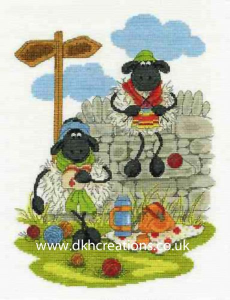 Shabby Sheep Lunching & Knitting Cross Stitch Kit